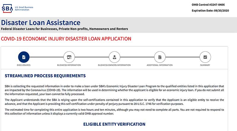 SBA disaster loan application