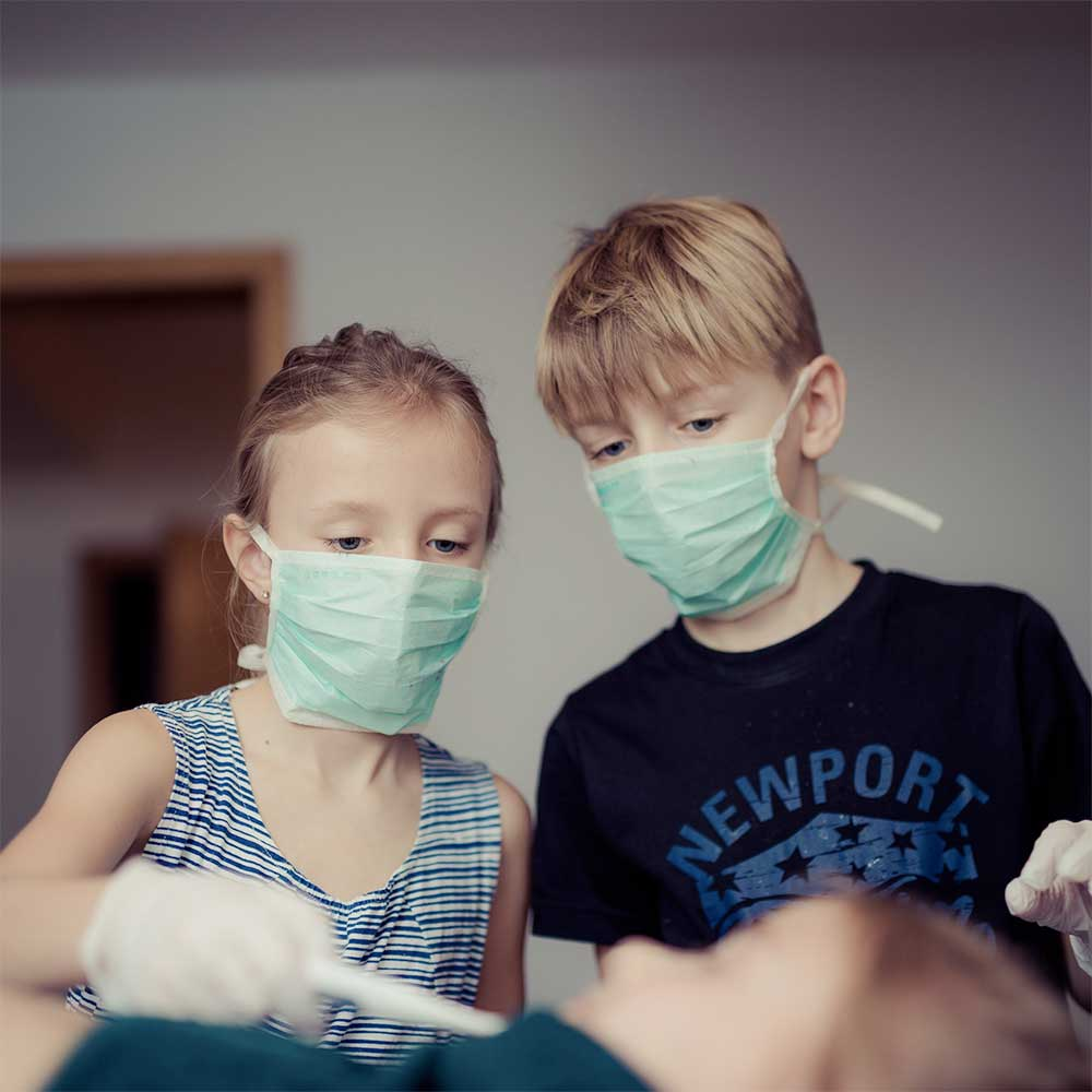 Kids with masks for coronavirus sun valley