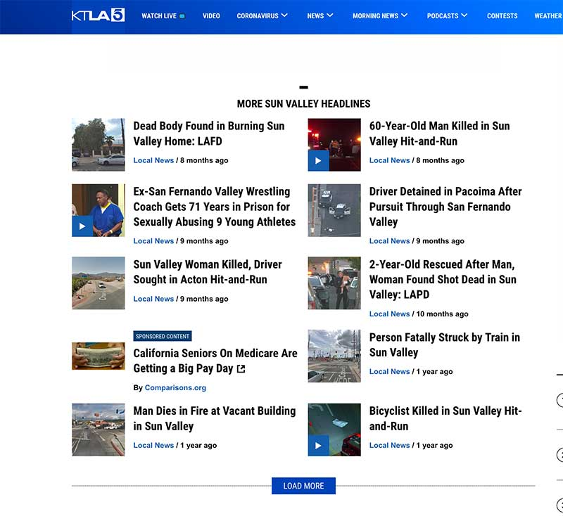KTLA Sun Valley News page