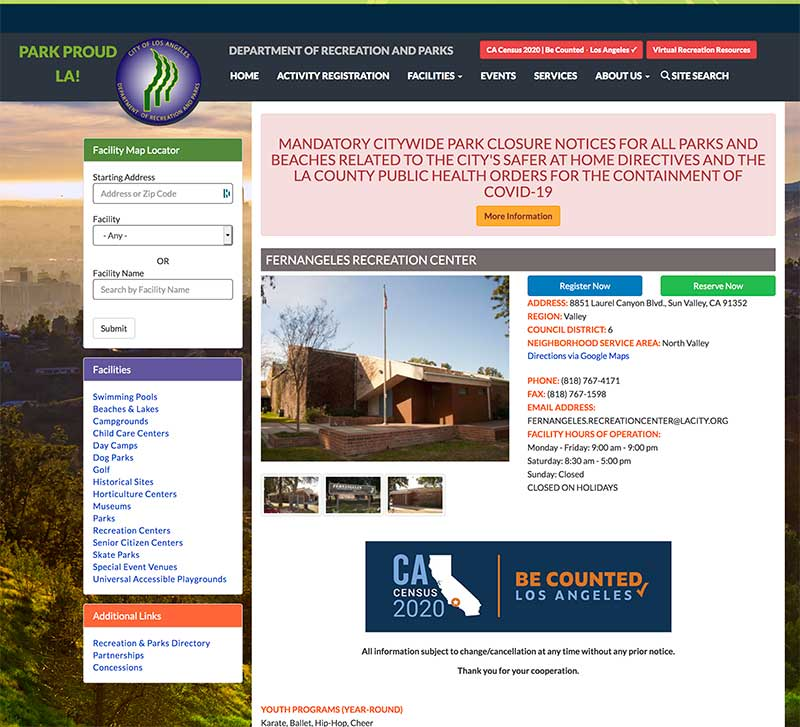 Fernageles Recreation Center Sun Valley on LA Parks website