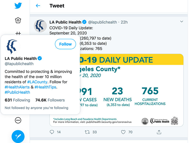 LA County Public Health Twitter Page Screen Shot by Jose Mier