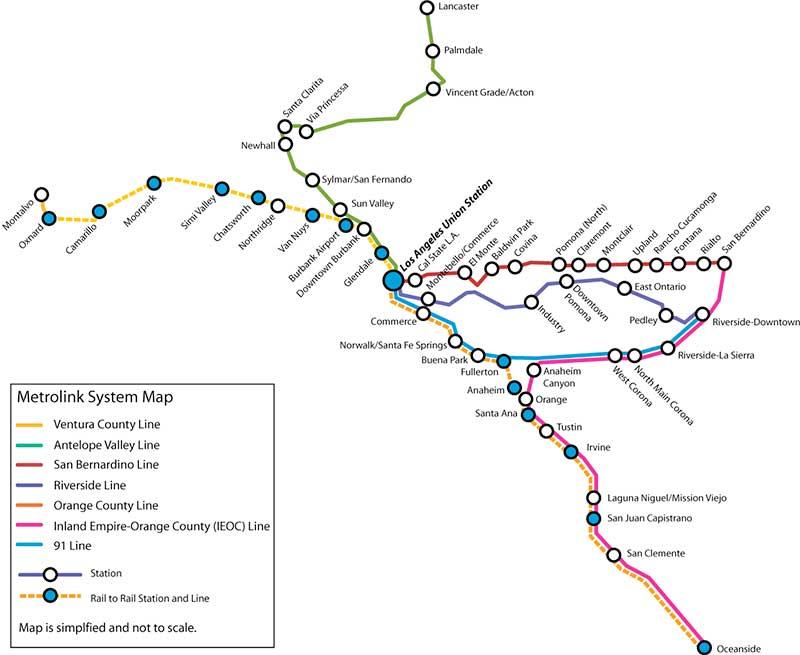 Metrolink route map
