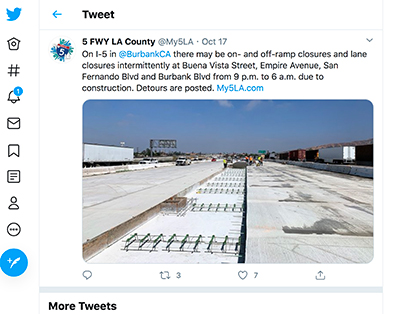 screenshot of sun valley freeway caltrans tweet