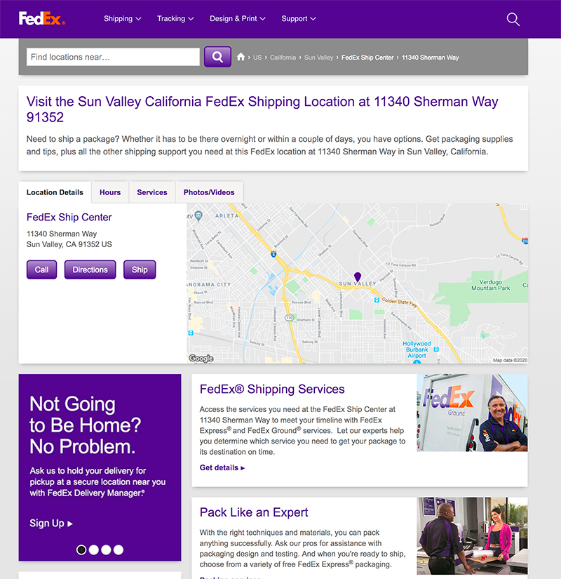 FedEx shipping center sun valley website
